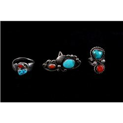 Navajo Sterling Silver Turquoise & Red Coral Rings