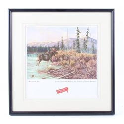 Moose & The Lake Great Falls Select Framed Print