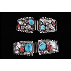 Navajo Sterling Silver Turquoise Coral Watchbands