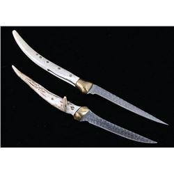 Pair of Deer Antler Handle Fillet Knives