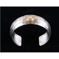 Navajo Sterling & Gold Tooled Signed Bracelet