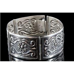 Stamped Sterling Silver Sectional Bracelet