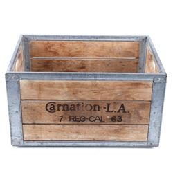 Carnation L.A. Wooden & Metal Dairy Supply Crate