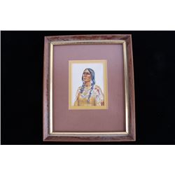 Violet Butterfly Watercolor Native American Woman