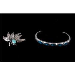 Navajo Sterling Silver Turquoise Bracelet & Brooch