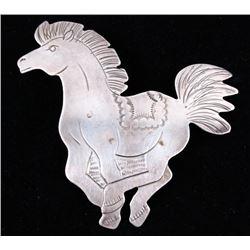 Navajo Sterling Silver Galloping Horse Pin