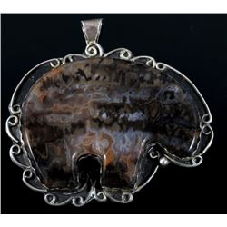 Sterling Silver and Agate Large Bear Pendant