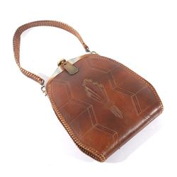 Early 1900's Meeker Made Leather Tooled Purse