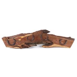 Rustic Western Wood Horse Shoe Coat Rack