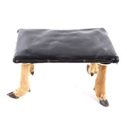 Mid 1900's Deer Hoof & Leather Foot Stool