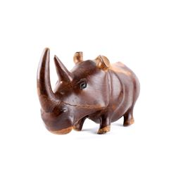 Hand Carved Polished Acacia Rhino C. 1930's