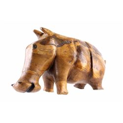 Hand Carved Polished Acacia Hippo C. 1930's