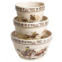 Westward Ho Rodeo 3-Piece Mixing Bowl Set