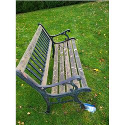 Outdoor wrought iron & wood bench. Cat C