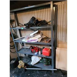 Metal shelving, Homelite Chainsaw. Cat C