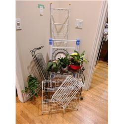 Assortment of Racks and metal plant holder. Cat A