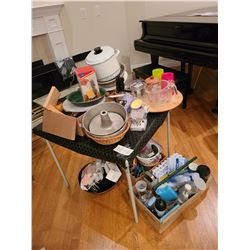 Assortment of kitchen ware & Card Table Cat A