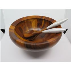 """Large Anne Nambe Wooden Salad Bowl with 2 Wooden Spoons, Approx. 7"""" H"""