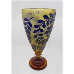 Tall Agarthi Handcut Italian Crystal Vase w/ Blue Raised Leaf Design 8  Dia, 16  Tall