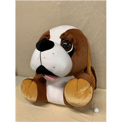 """Large Plush Brown & White Dog w/ Tag, Approx. 30"""" Tall"""