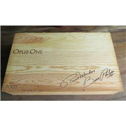 Wooden '2003 Opus One' Robert Mondavi/Baron Philippe Wine Crate with Lid, 21x13x4H