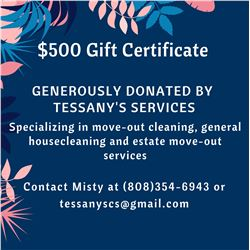 $500 Gift Certificate for Housecleaning & Estate Removal Svcs (Tessany's Services)
