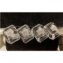 Qty 4 Versace Rosenthal Crystal Napkin Rings (New Condition)