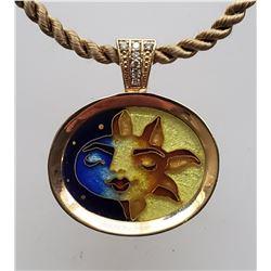 Sun & Moon Cloisonne Pendant, .07ct Diamond Bail, 14k Gold/Sterling Silver Backing (Retail $850)