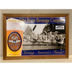 "Framed ""Home of the Brave Beverage Company"" Pilot Pale Ale Print on Wooden Backing 33"" x 23"""
