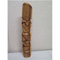 "Carved Wooden Tiki, Solid Wood, Approx. 35"" Tall"