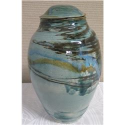 "Tall Lidded Ceramic Jar - Lt. Blue w/ Dark Striations 15"" H (Donated by Pokai Studios)"