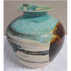 "Ceramic Vase with ""Breaking Wave"" Rim, Aqua/Sand/Brown, 11.5""H (Donated by Pokai Studios)"