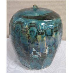 "Rounded Tapered Single-Stem Ceramic Vase - Blue Watery Depths 10.5"" H (Donated by Pokai Studios)"