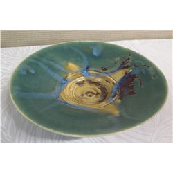 "Large Round Plate - Blue-Green w/ Yellow Accent 13"" Dia., 3"" H (Donated by Pokai Studios)"