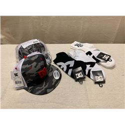 2 New DC 'Covert Trucker' Hats & 4 Pairs of New DC Socks
