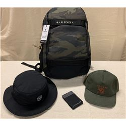 New Rip Curl Products: Camo Fader Backpack, Magic Wallet, Black Surf Brim Hat & Olive Hat.