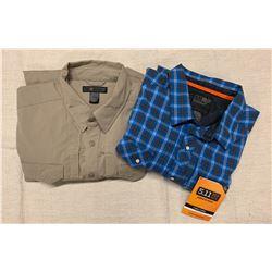 5.11 Men's Tactical Clothing - 2 Men's Long-Sleeve Button-Up Shirts (size XL)