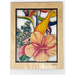 Botanical Blend Cut-Out Wood Wall Art 11x14 by Ashley Kaase, Made in Hawaii $50 Value