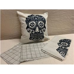 Qty 4 New Abstract Skull & Gridline Decorative Pillow Covers, 17x17