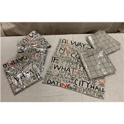 Qty 6 New 'Words' & Gridlines Decorative Pillow Covers, 17x17