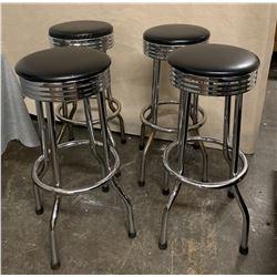 """Qty 4 Round Chrome Barstools, 30""""H, 12.5"""" Seat Diameter"""