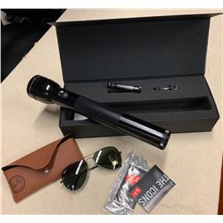 New Magnalite Flashlight w/ Case & New Rayban Sunglasses w/ Case