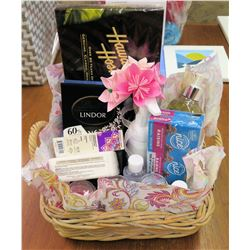 Gift Basket: 3 Mini Candles, 2 Mini Hand Sanitizers, Lavender Essential Oil, Shea Butter Bar Soap, C