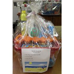 Sandy Surprise Gift Box:  Wavy Wagon with 11 beach toys, Sunscreen, Floaties, and Balls     Value $3