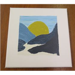 "Landscape Artwork Signed by Artist 'A' 2006 Canvas on Wood Frame 8""x8"""