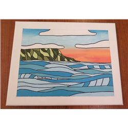 """Landscape Artwork Signed by Artist 'Liya' Canvas on Wood Frame 8""""x10"""""""