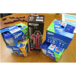 Qty 4 Ziploc Plastic Container Sets & Tiger Sports Bottle