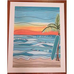 """Landscape Artwork Signed by Artist 'Liya' Canvas on Wood Frame 16""""x20"""""""
