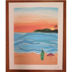 "Landscape Artwork Signed by Artist 'A' 2006 Canvas on Wood Frame 16""x20"""