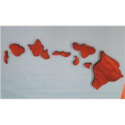 Mahogany Hawaiian Islands: 8 Piece Carved Mahogany Wood Hawaiian Island Set